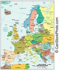 Cartina Politica Europa Con Capitali In Italiano.Mappa Europa Politica Con Capitali