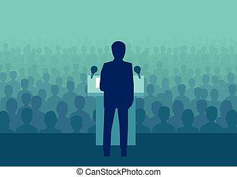 politico, folla, persone, grande, vettore, uomo affari, o, parlante