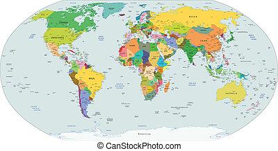 politico, globale, mappa, mondo