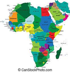 politico, mappa, africa