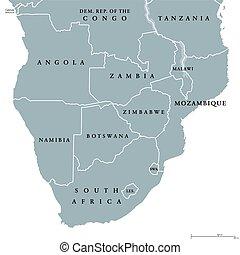 politico, mappa, africa, meridionale