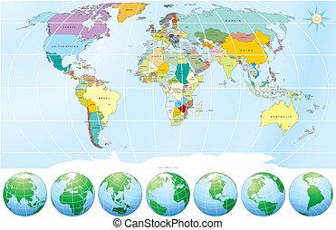 politico, mappa, mondo