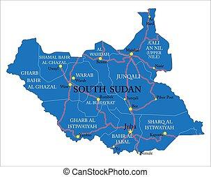 politico, mappa, sudan, altamente, sud, dettagliato