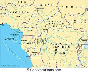 politico, ovest, africa centrale, mappa