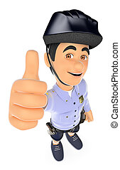 polizia, 3d, calzoncini, pollice