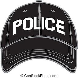 polizia, berretto, baseball