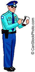 polizia, biglietto, -, ufficiale, parcheggio