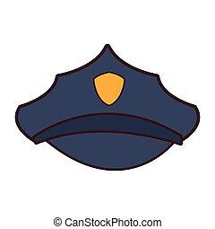 polizia, cappello, cartone animato