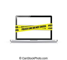 polizia, croce, cyber, laptop., non, linea, crimine
