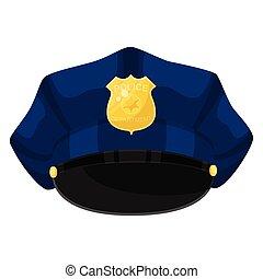 polizia, dorato, distintivo, cartone animato, gemma blu