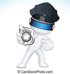 polizia, esposizione, vettore, 3d, distintivo, uomo