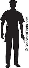 polizia, maschio, silhouette, ufficiale