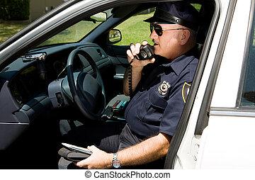 polizia, radiotrasmettere, -