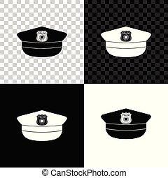 polizia, segno., berretto, isolato, illustrazione, fondo., vettore, nero, bianco, icona, cappello, trasparente, coccarda