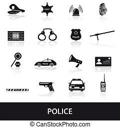 polizia, set, eps10, icone