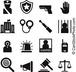 polizia, set, silhouette, icone