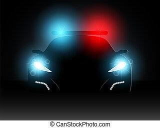 polizia, vettore, automobile., illustration.