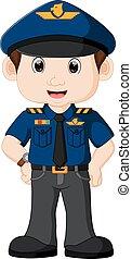 poliziotto, cartone animato, giovane