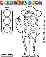 poliziotto, libro colorante, semaforo