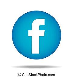 pollice, f, abbottonare, vettore, facebook