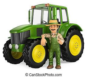 pollice, sporgente, su, contadino, trattore, 3d