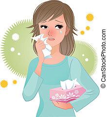 polline, sofferenza, donna, allergi