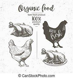 pollo, apparecchiato, arrostito