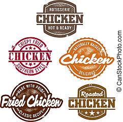 pollo, francobolli, classico
