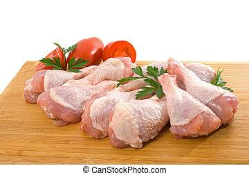 pollo fresco, gambe, crudo