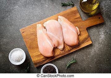 pollo fresco, seno, crudo