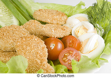 pollo, verdura, pepite