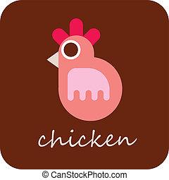 pollo, vettore, -, icona