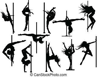 polo, ballerino, silhouette