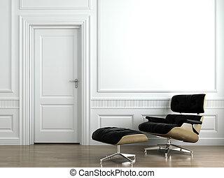 poltrona cuoio, bianco, interno, parete