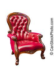 poltrona cuoio, lusso, rosso, isolato