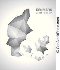 polygonal, danimarca, vettore, grigio, mappa