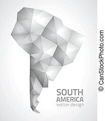 polygonal, mappa, america, grigio, sud
