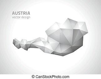 polygonal, mappa, austria, vettore, grigio