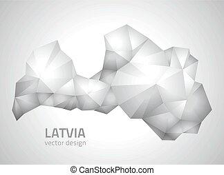 polygonal, mappa, lettonia, grigio, vettore