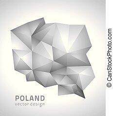 polygonal, mappa, polonia, vettore, grigio