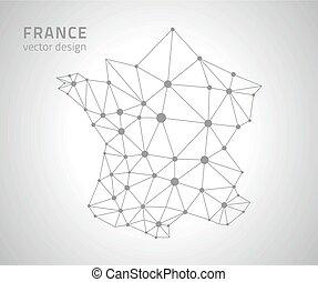 polygonal, mappa, vettore, francia
