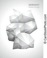 polygonal, mappa, vettore, germania, grigio