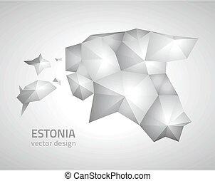 polygonal, mappa, vettore, grigio, estonia