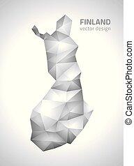 polygonal, mappa, vettore, grigio, finlandia