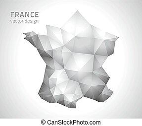 polygonal, mappa, vettore, grigio, francia