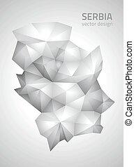 polygonal, mappa, vettore, serbia, grigio