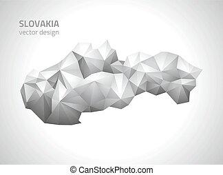 polygonal, mappa, vettore, slovacchia, grigio