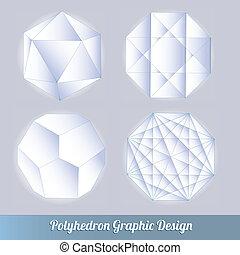 polyhedron, lotti, set, vettore, 3d
