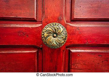 pomello, ottone, porta, rosso