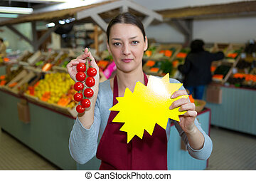 pomodori, donna, vendita